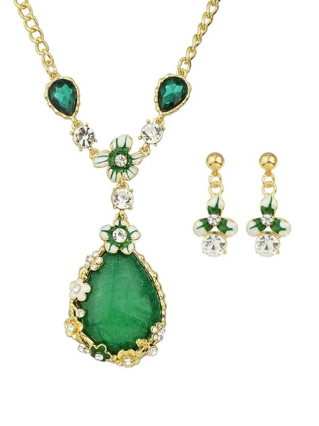 Grüne böhmische bunte Strass Blume Anhänger Halskette Ohrringe Set