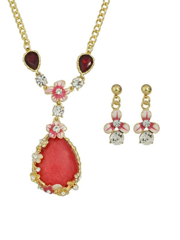 Red Bohemian bunte Strass Blume Anhänger Halskette Ohrringe Set