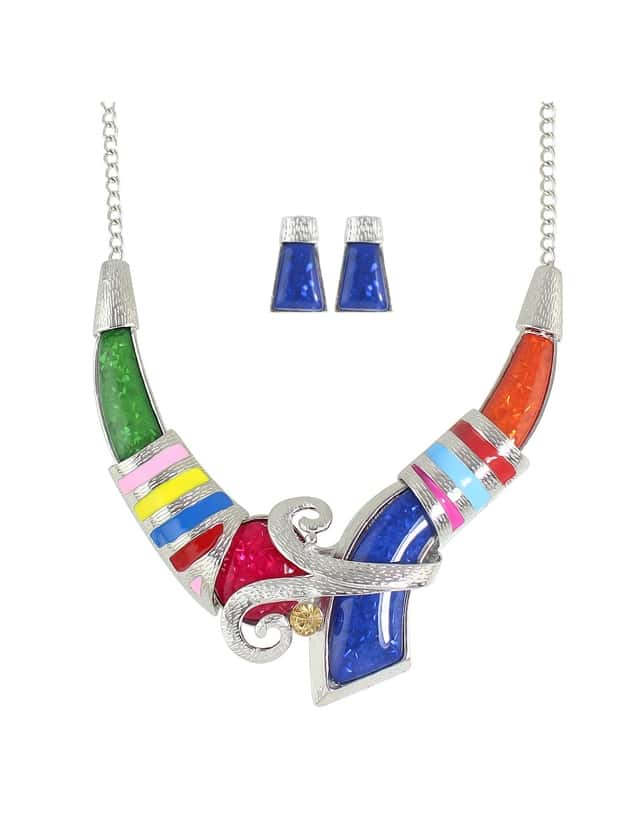 Enamel Geometric Big Choker Necklace Earrings