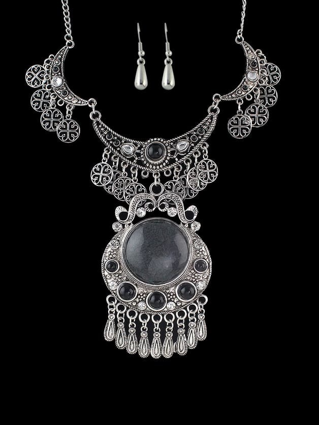 Tibetische bunte Stein Perlen große Blume Anweisung Maxi Halskette und Ohrringe