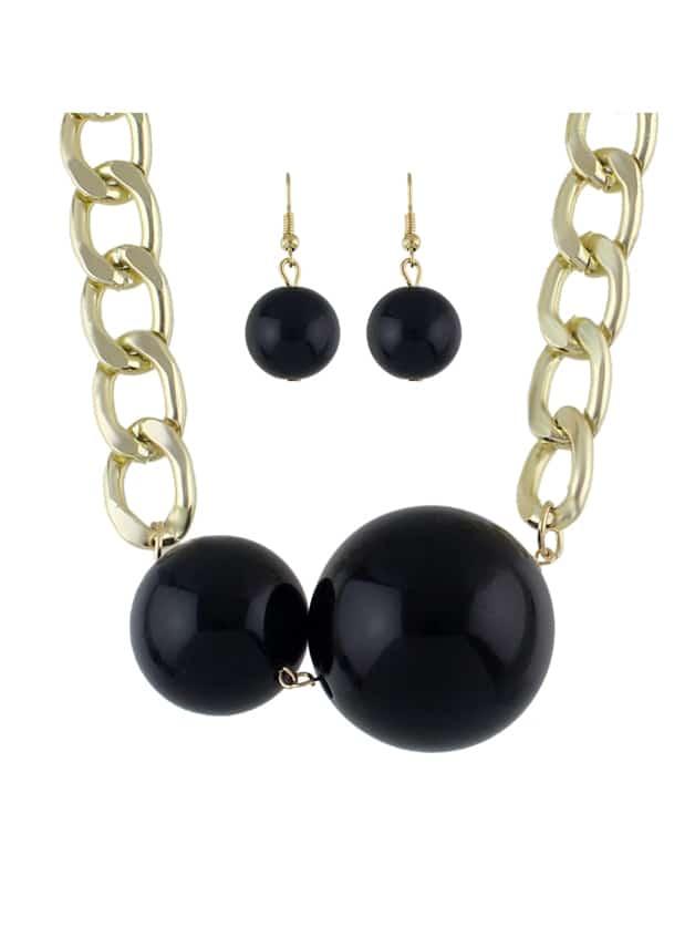 Black Imitation Pearl Anhänger Halskette Ohrringe Set