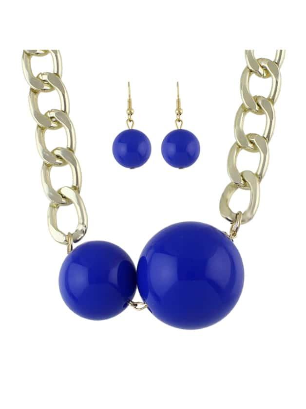 Blaue Nachahmung Perlen Anhänger Halskette Ohrringe Set