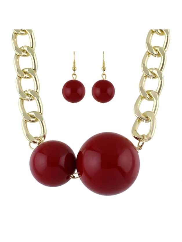 Red Imitation Perle Anhänger Halskette Ohrringe Set