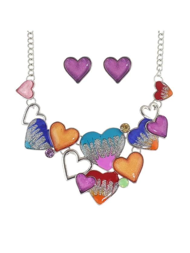 Colorful New Enamel Heart Shape Necklace Earrings Set