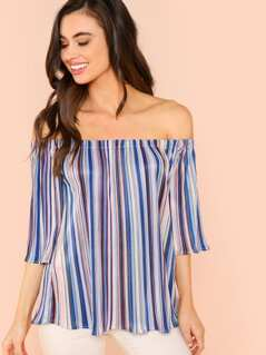 Multicolor Pleated Off Shoulder Top