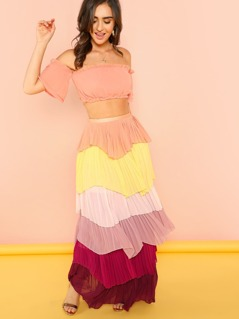 Multi Colored Ruffle Crop Top and Skirt Set