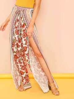 Floral Print Open Leg Pants