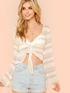 Stripe Flare Sleeve Gauze Blouse with Tie Front