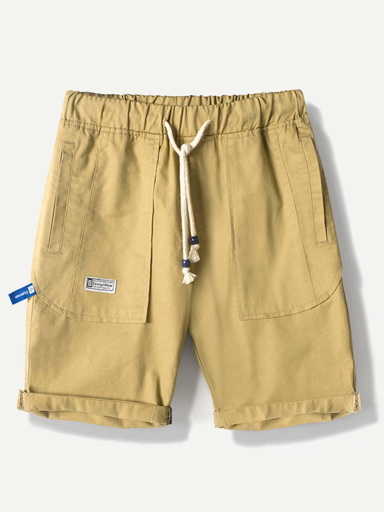 Men Rolled Hem Drawstring Shorts
