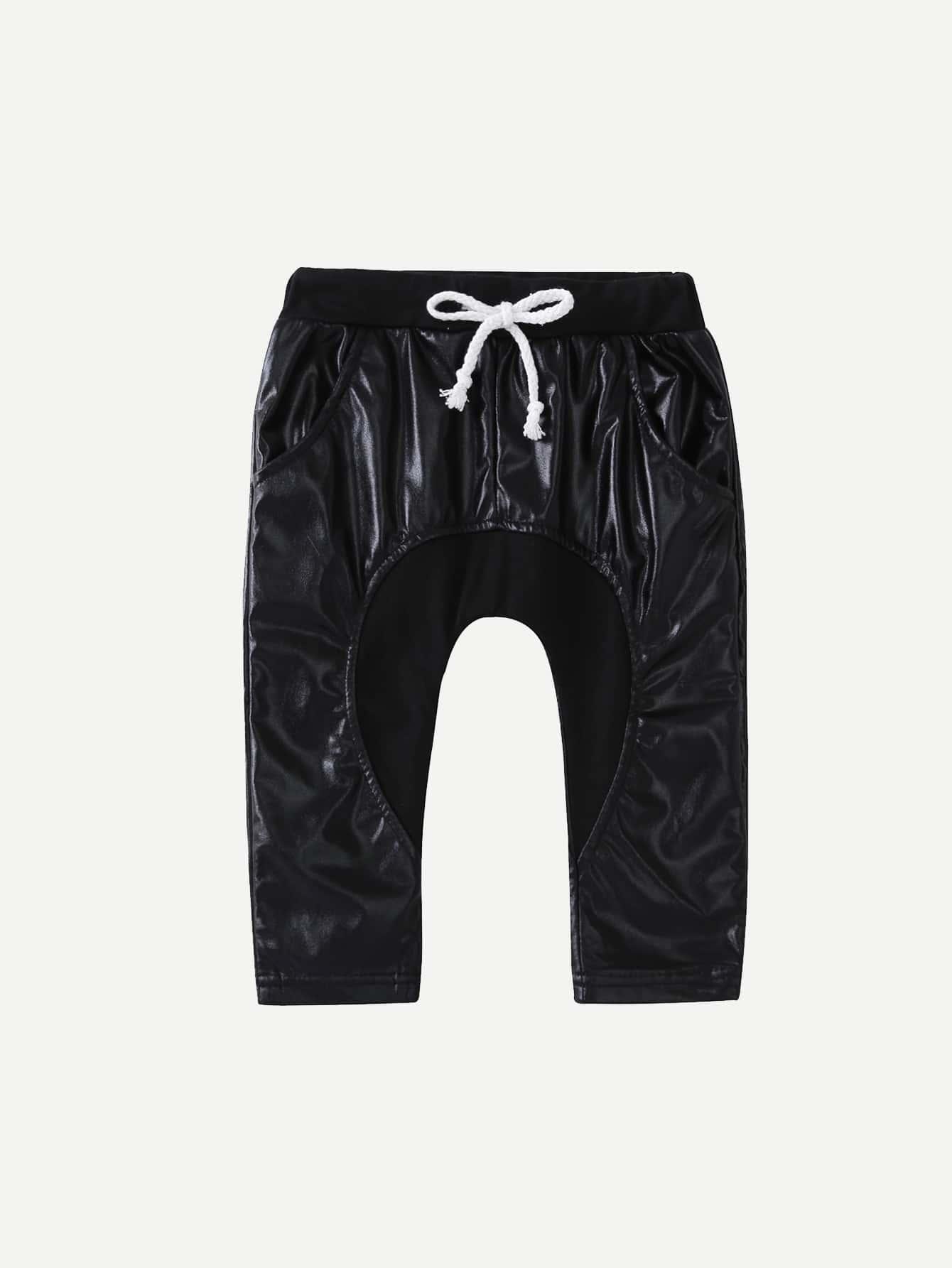 Boys Faux Leather Drawstring Waist Pants