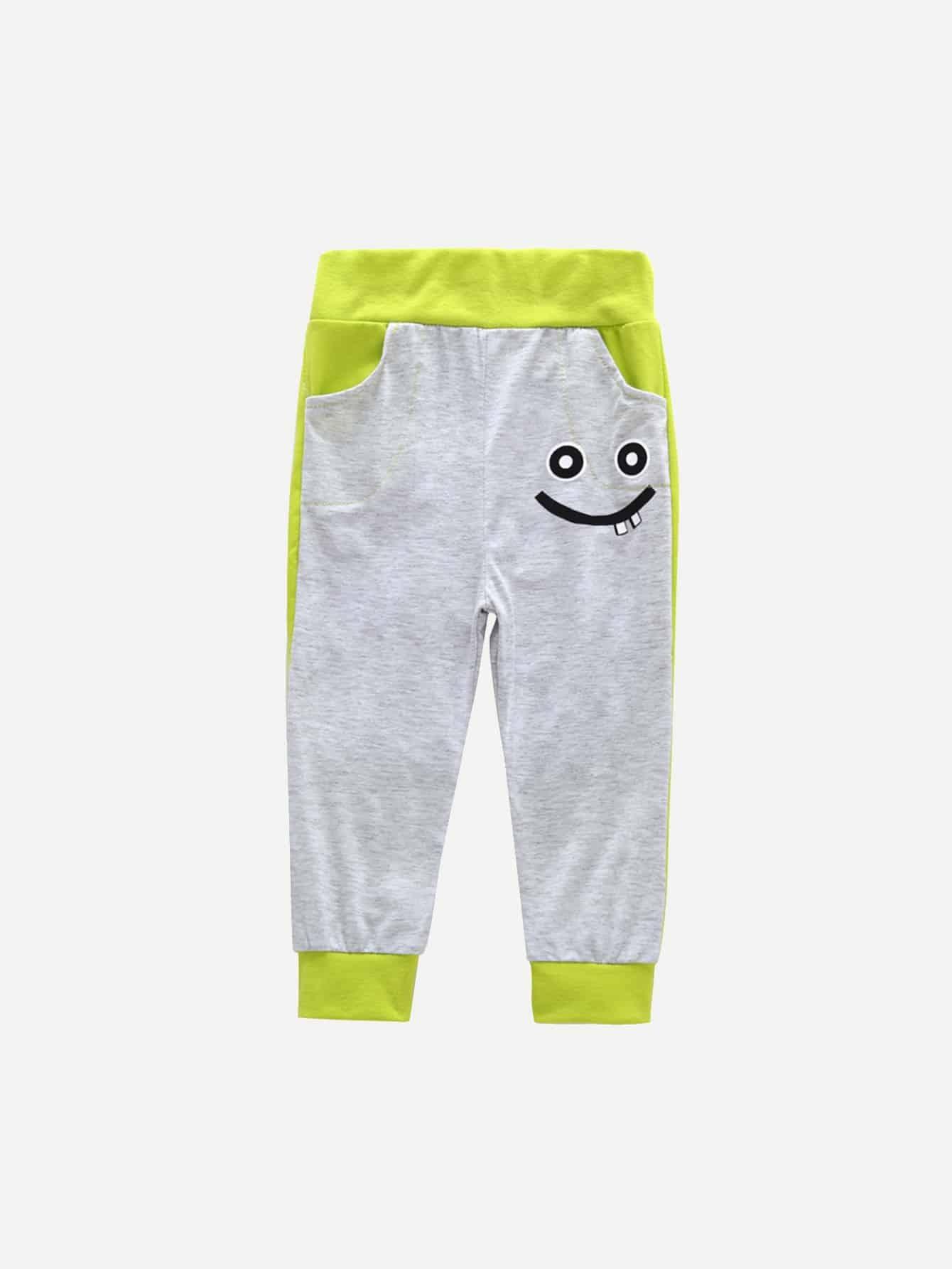Boys Color Block Cartoon Print Pants