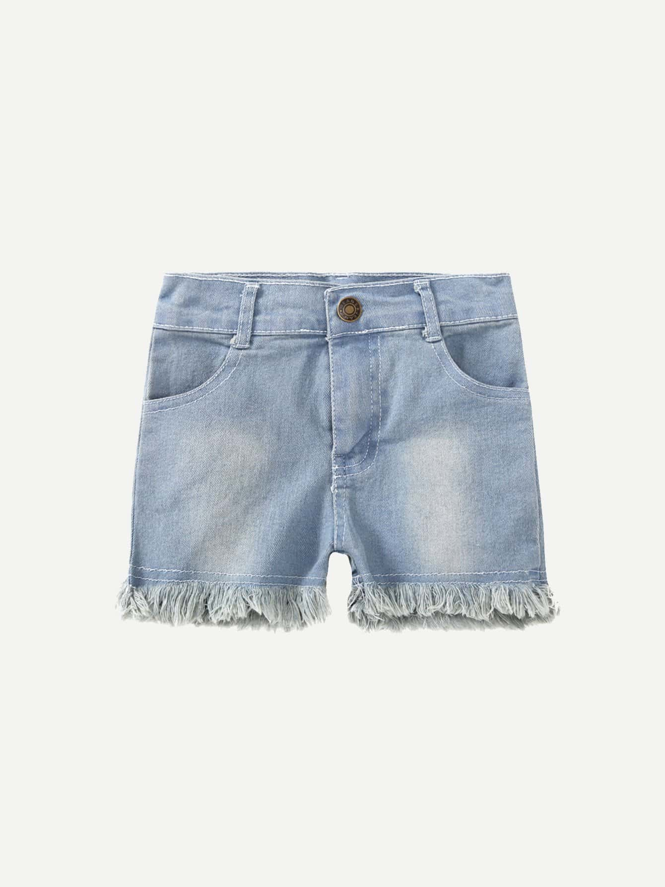все цены на Girls Fringe Hem Denim Shorts