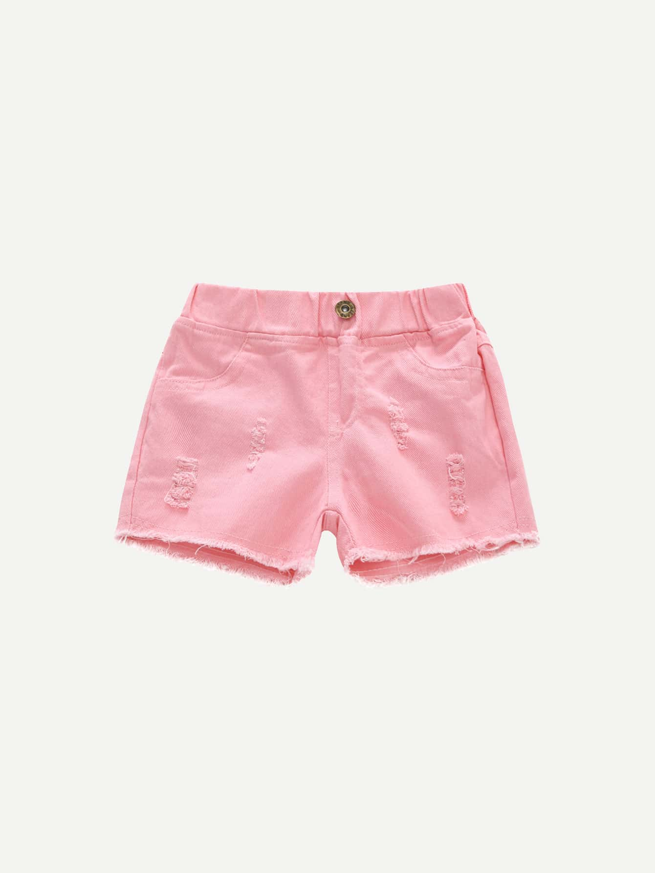 Купить Девушки Raw Hem Ripped Shorts, null, SheIn