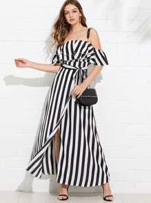 Self Tie Waist Striped Tiered Dress
