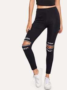 Letter Print Cut Out Leggings