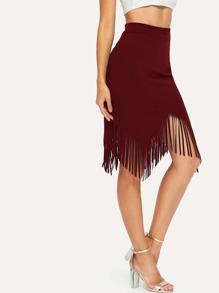 Asymmetrical Fringe Hem Skirt