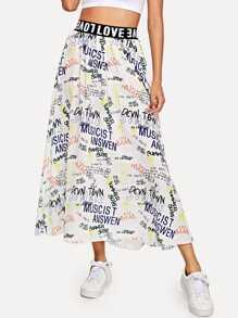 Elastic Waist Slogan Print Skirt