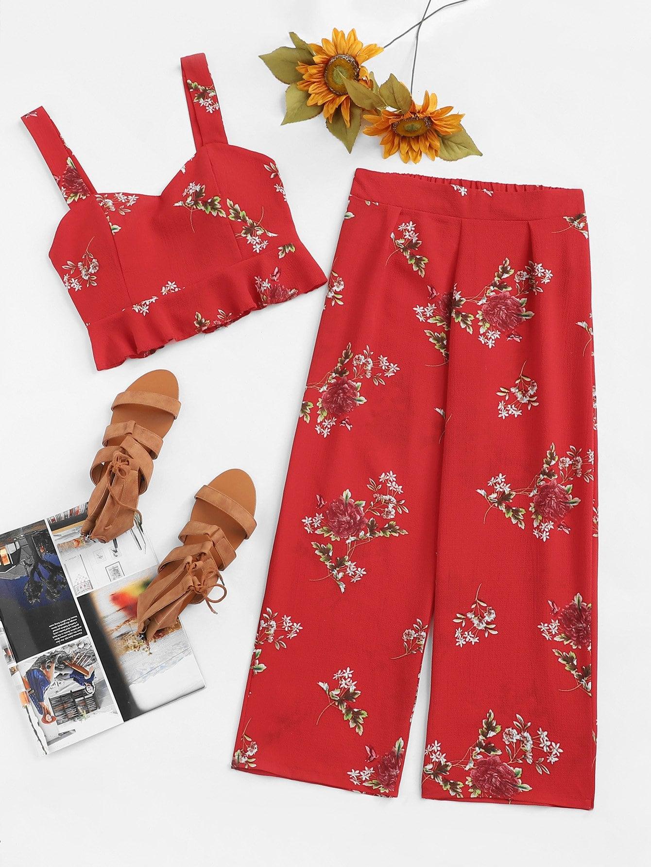 Купить Ruffle Hem Цветочные печать с брюками, null, SheIn