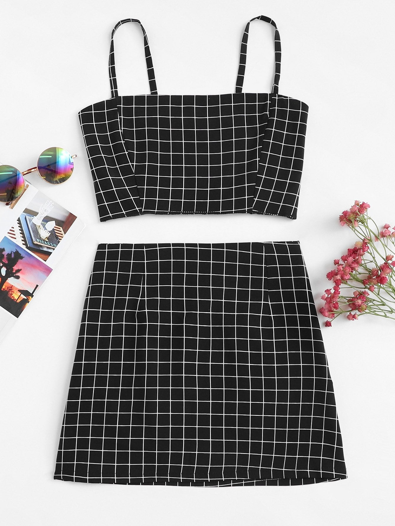 Checked Crop Cami Top With Skirt black choker sleeveless crop top