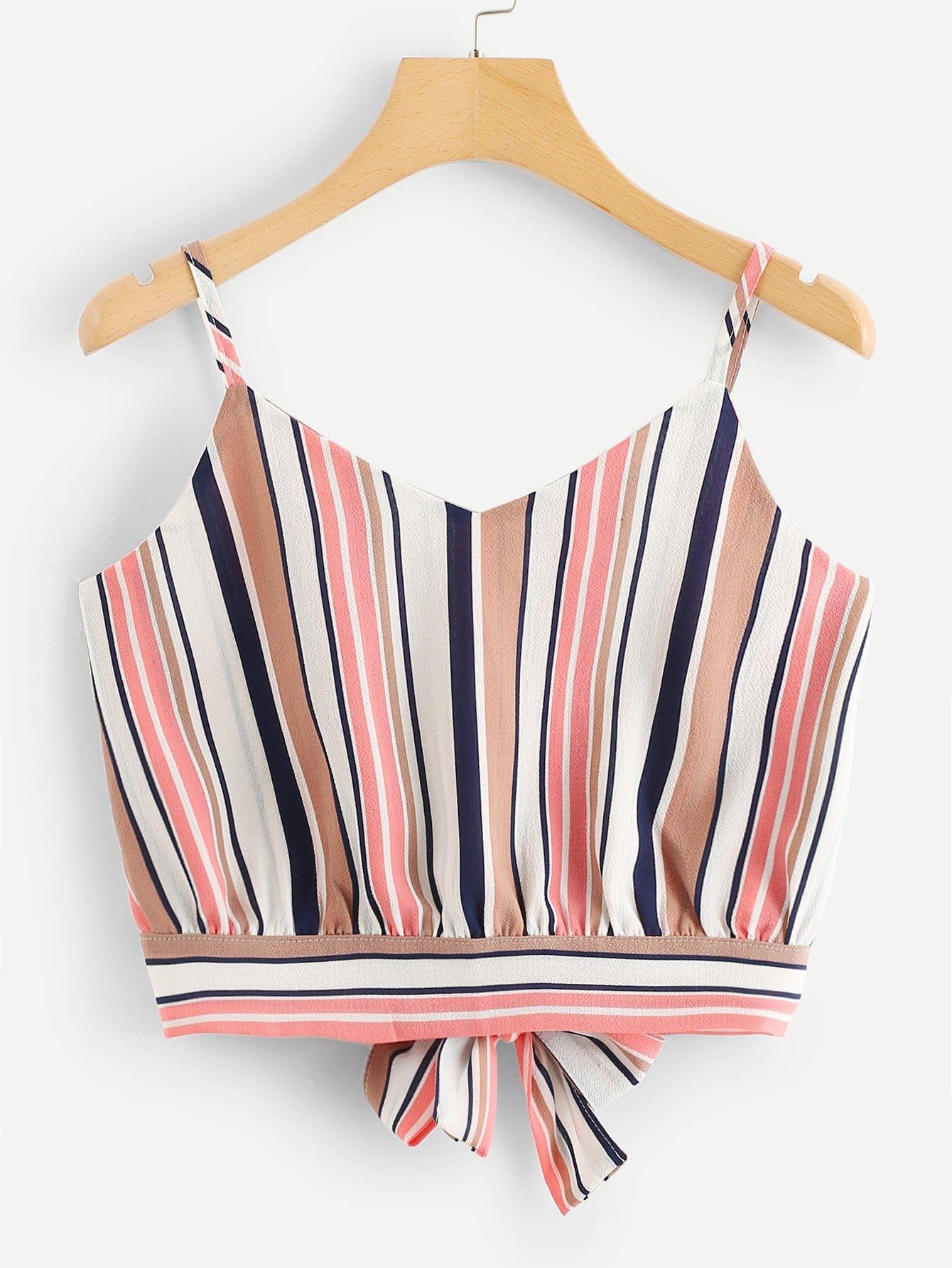 Купить Split Knot Back Striped Cami Top, null, SheIn