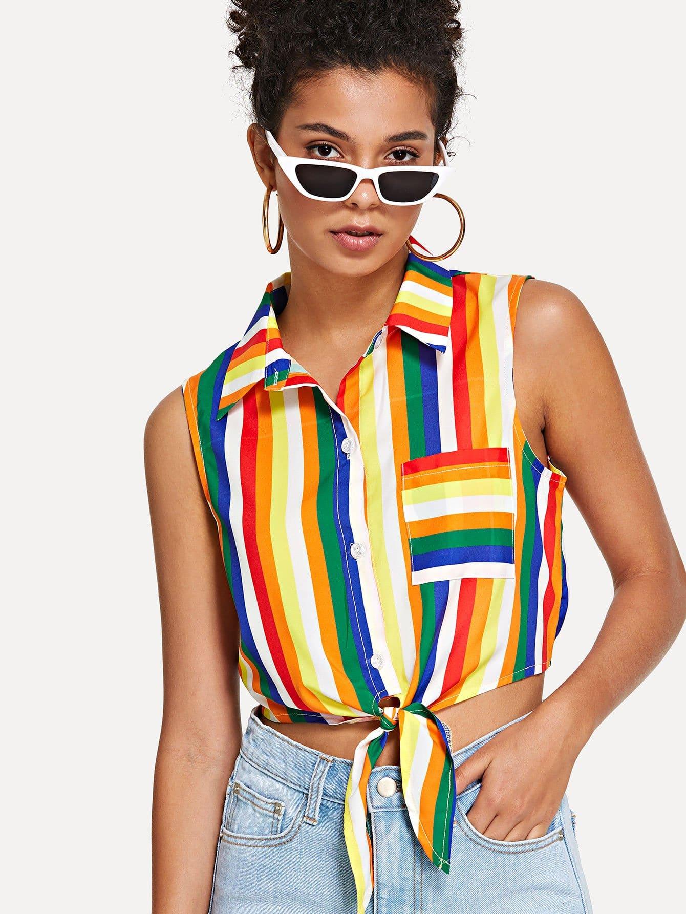 Купить Карманная полосатая полосатая рубашка, Starl Lane, SheIn
