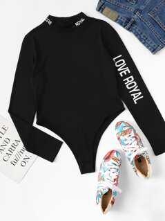 Mock Neck Letter Print Bodysuit