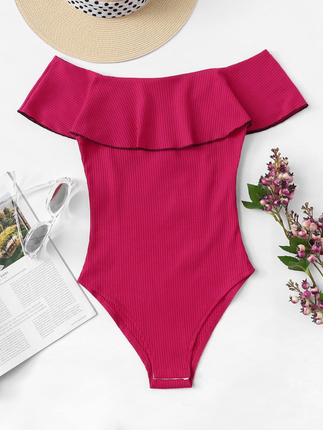 Contrast Binding Ruffle Embellished Bodysuit contrast halter and binding layered ruffle bodice jumpsuit