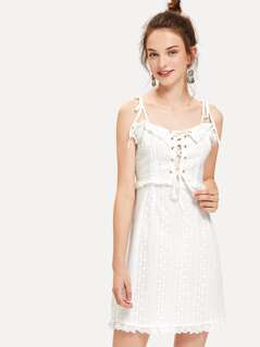 Lace Up Frill Trim Tied Cami Dress