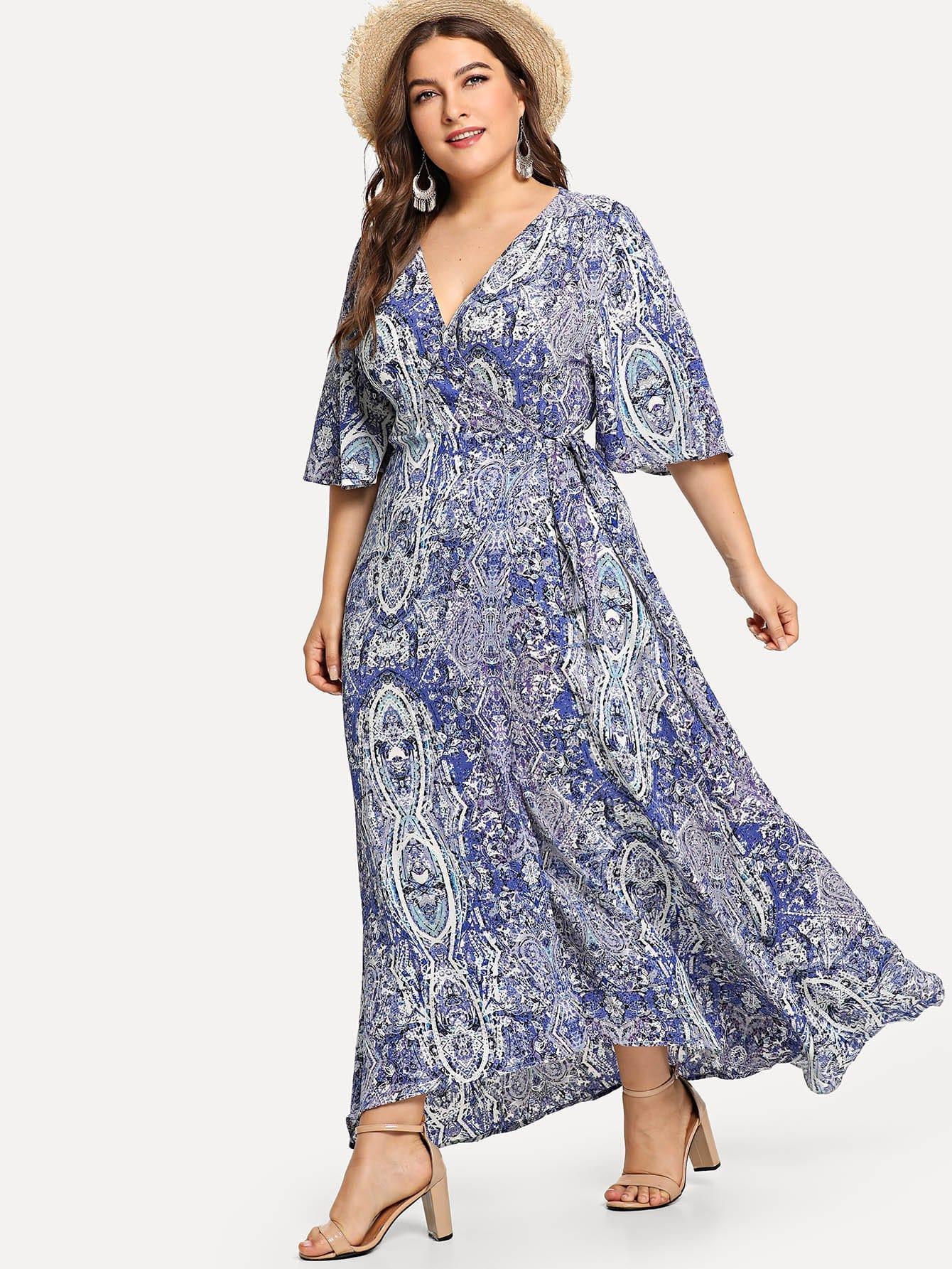 Купить Епископская рукава Slit Floral Dress, Franziska, SheIn