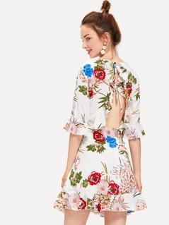 Ruffle Cuff and Hem Botanical Dress