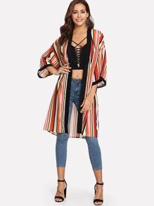 Drop Shoulder Striped Longline Kimono with Belt