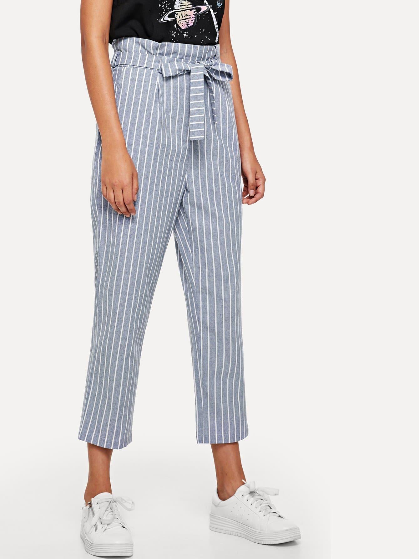 Cuffed Leg Belted Pinstripe Pants solid cuffed pants