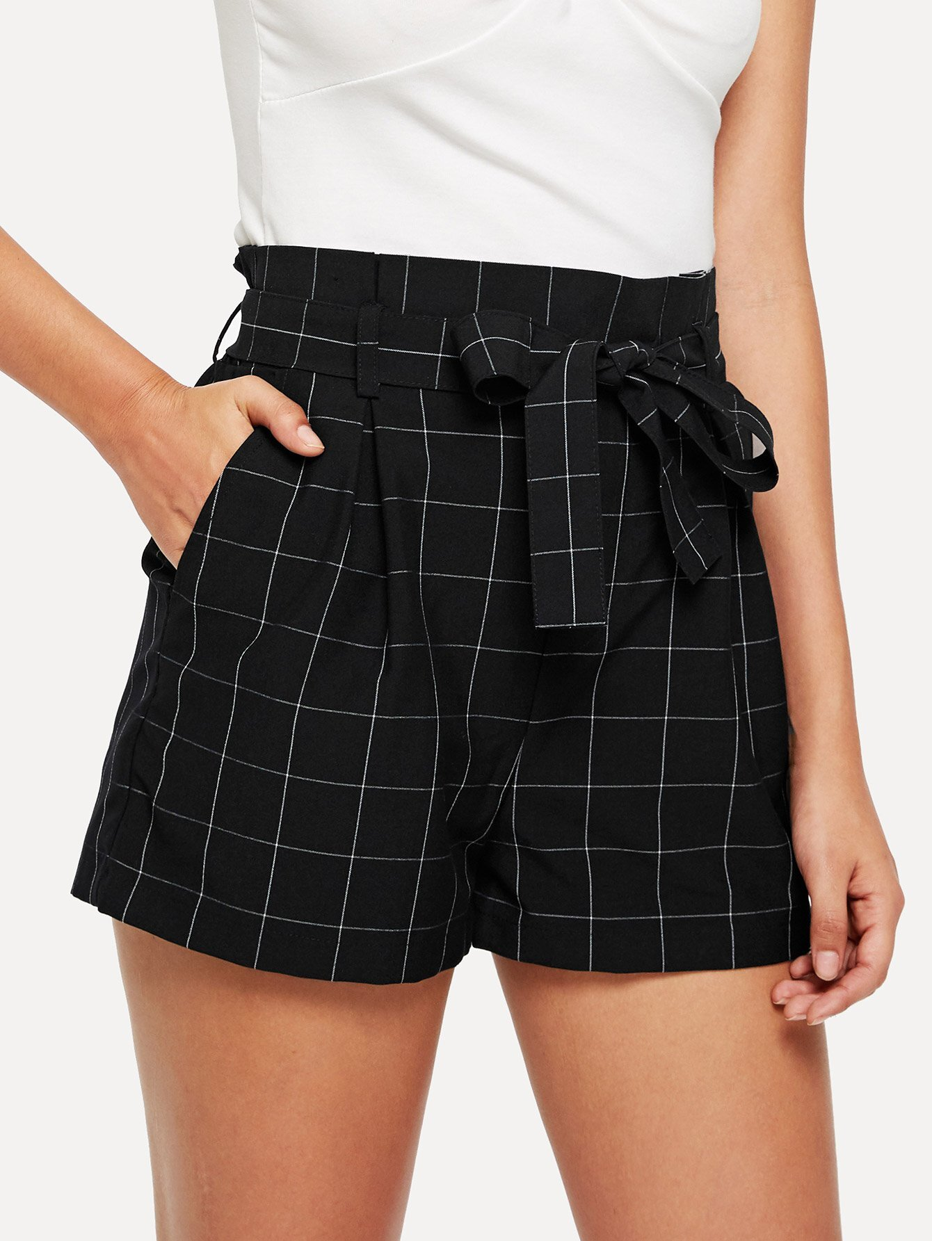 Wide Waist Self Belted Grid Shorts ruffle waist self belt grid shorts