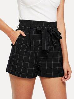 Wide Waist Self Belted Grid Shorts