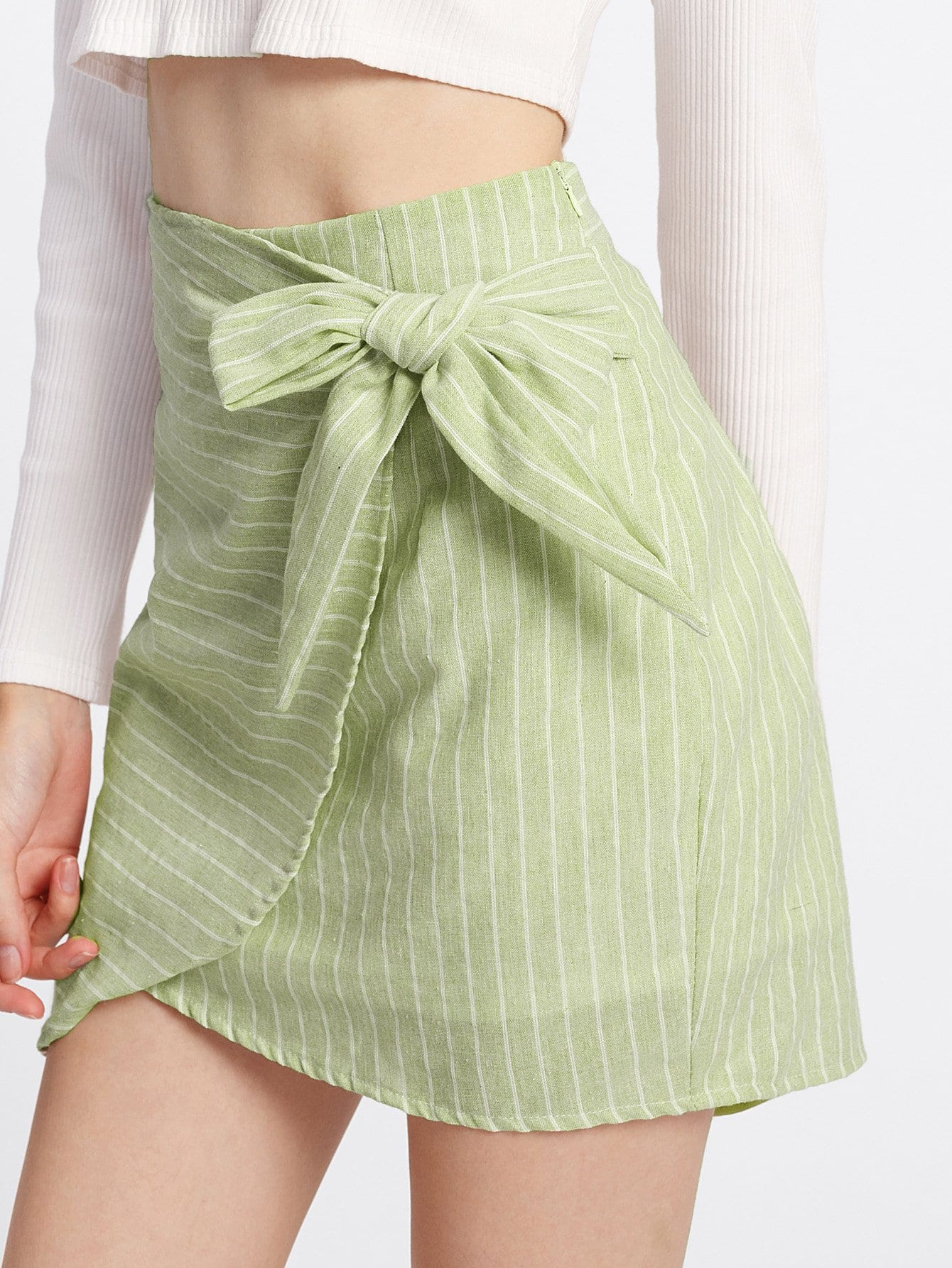 Knot Side Overlap Skirt knot side overlap ruffle trim dot skirt