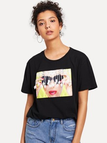 Fringe Embroidered Graphic T-shirt