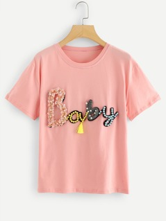 Pearl And Applique Letter Tassel Detail Tee