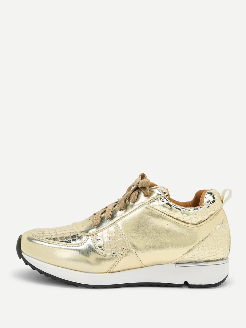 Metallic Lace Up Low Top Sneakers, Gold