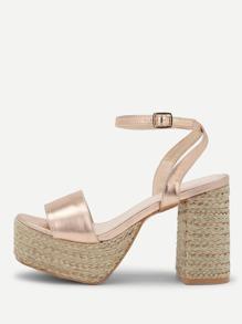 Ankle Strap Platform Heeled Sandals