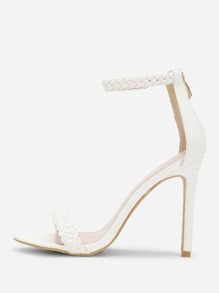 Woven Strap Peep Toe PU Sandals