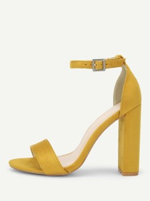 Two Part Block Heeled Suede Sandals