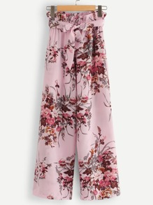 Floral Print Belted Frill Pants