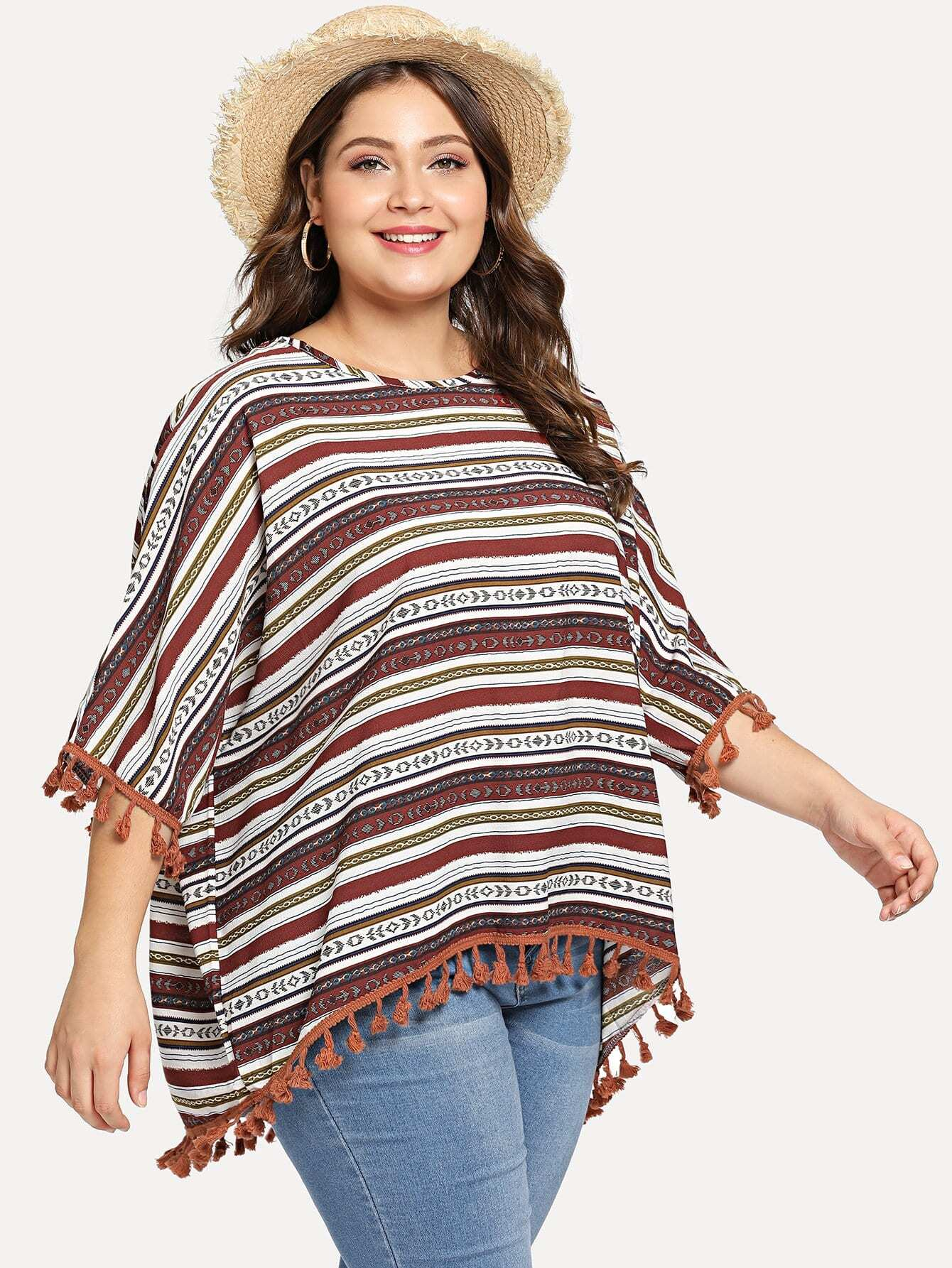 Plus Aztec Print Tassel Trim Blouse