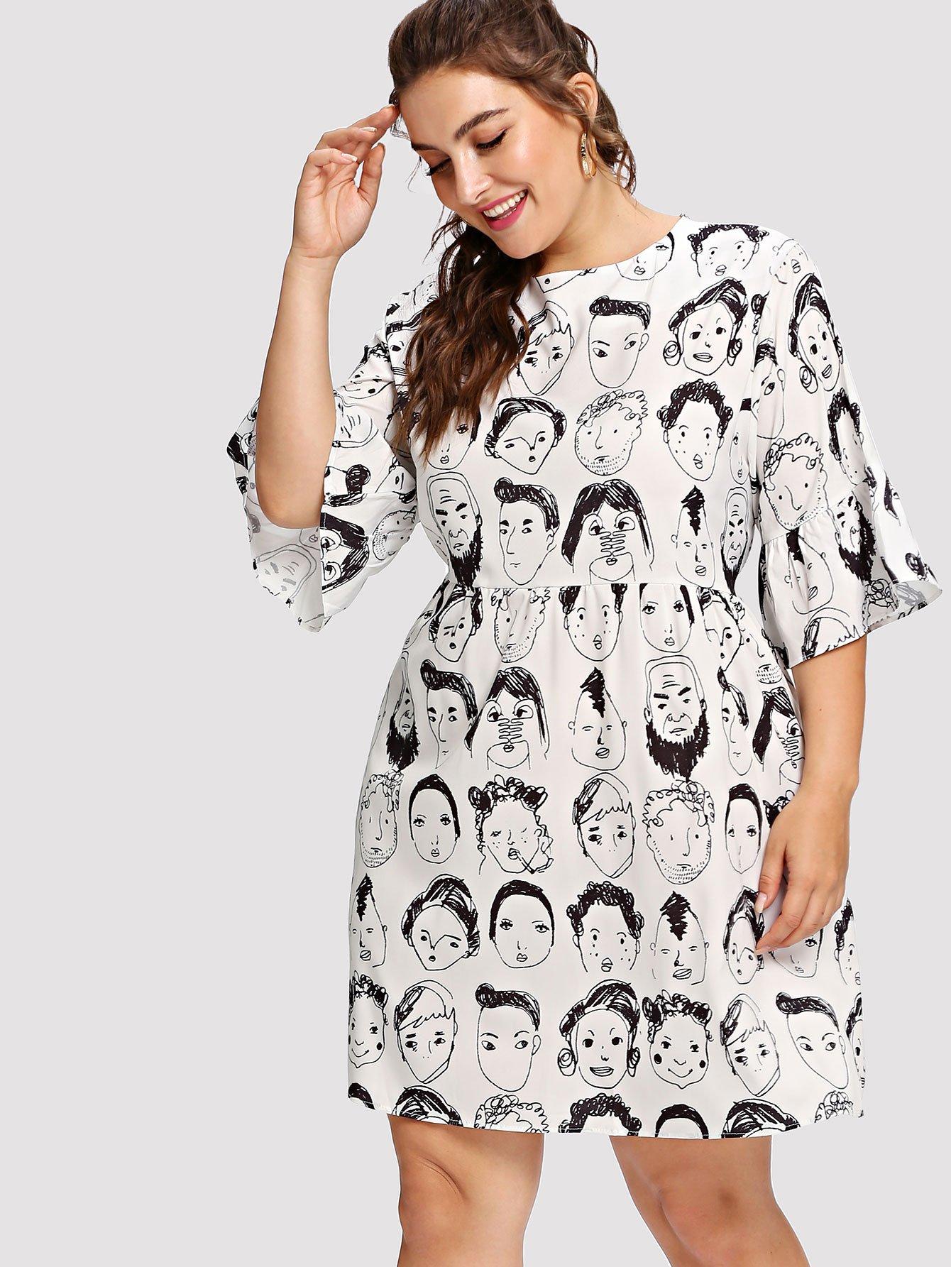 Kleid mit Abbildungmuster und Band hinten