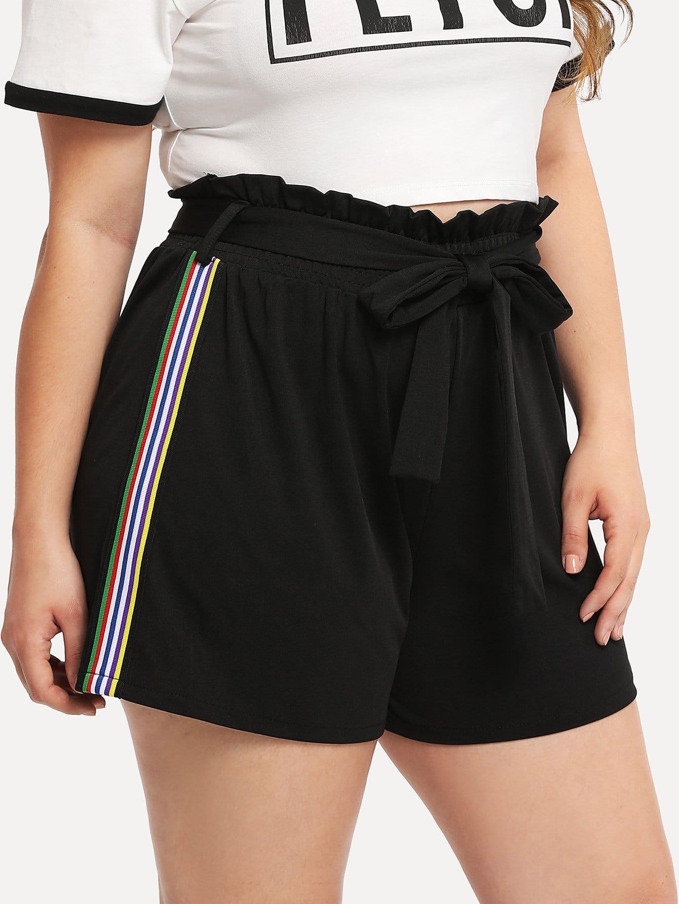 Plus Stripe Tape Side Frill Trim Shorts