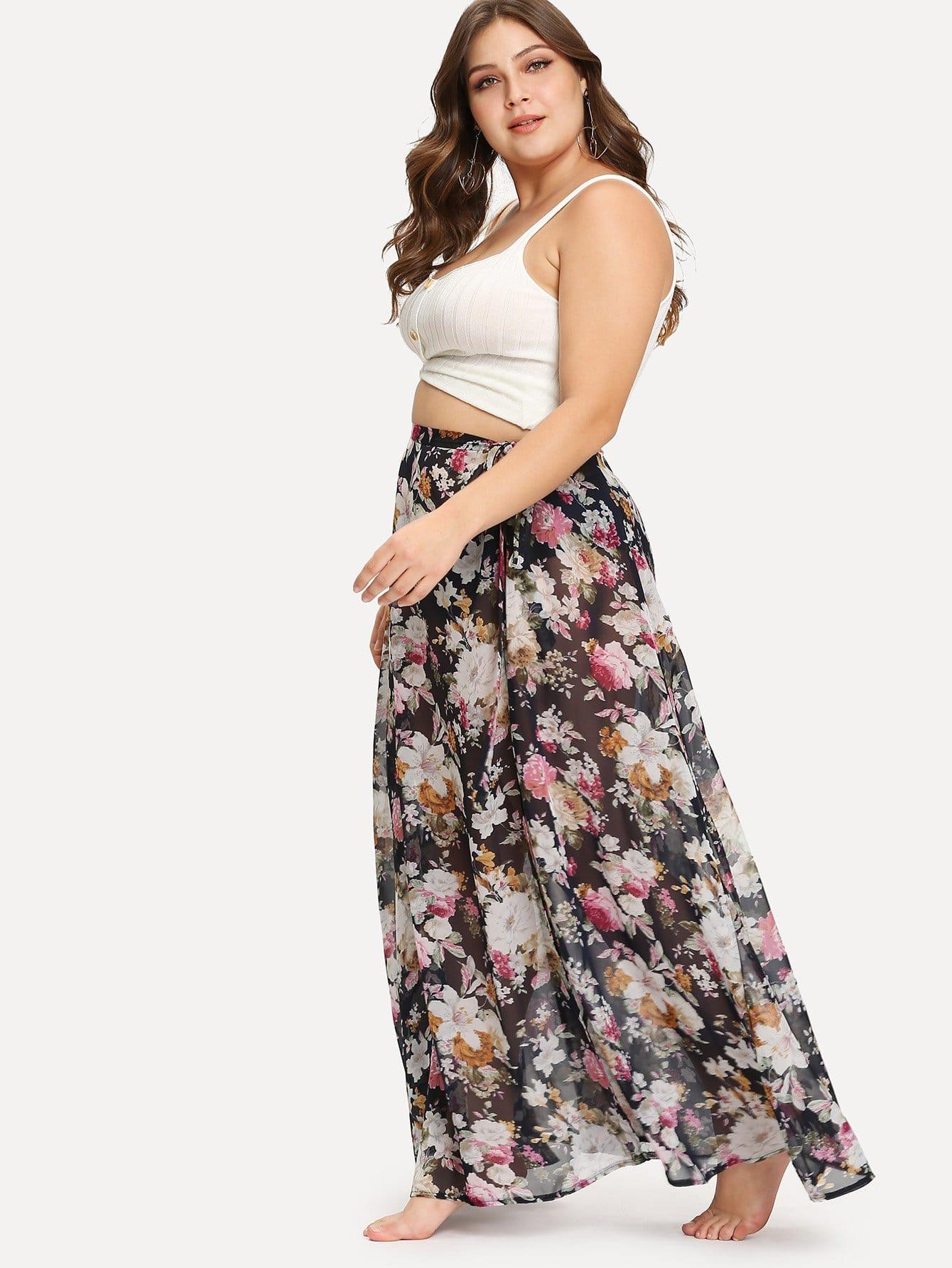 Plus All Over Florals High Slit Skirt