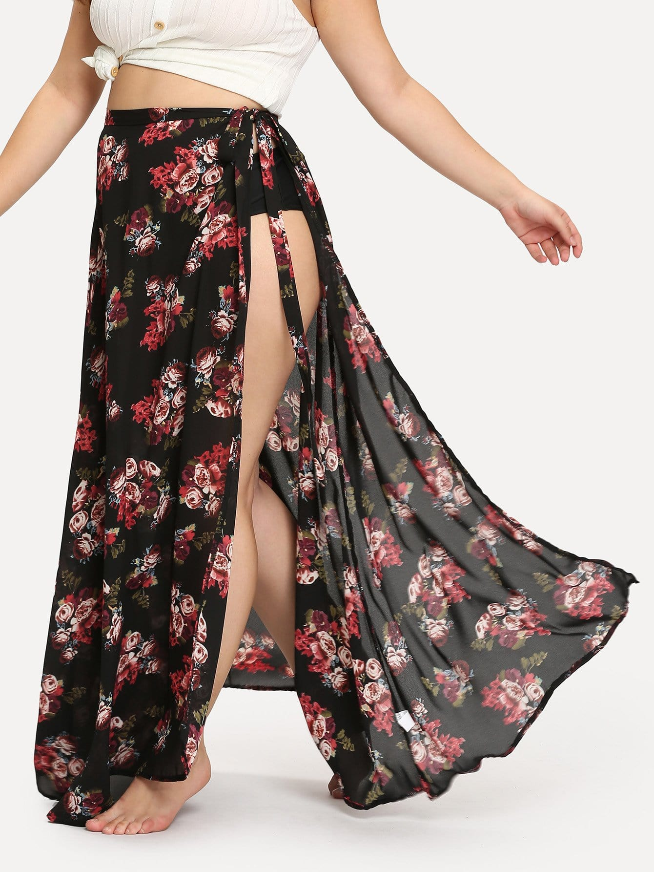 Plus All Over Florals High Slit Skirt ad9764arrl 28 soic