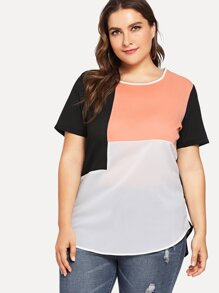 Plus Cut And Sew Panel High Low Chiffon Top