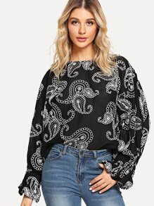 Paisley Embroidered Ruffle Sleeve Shirt
