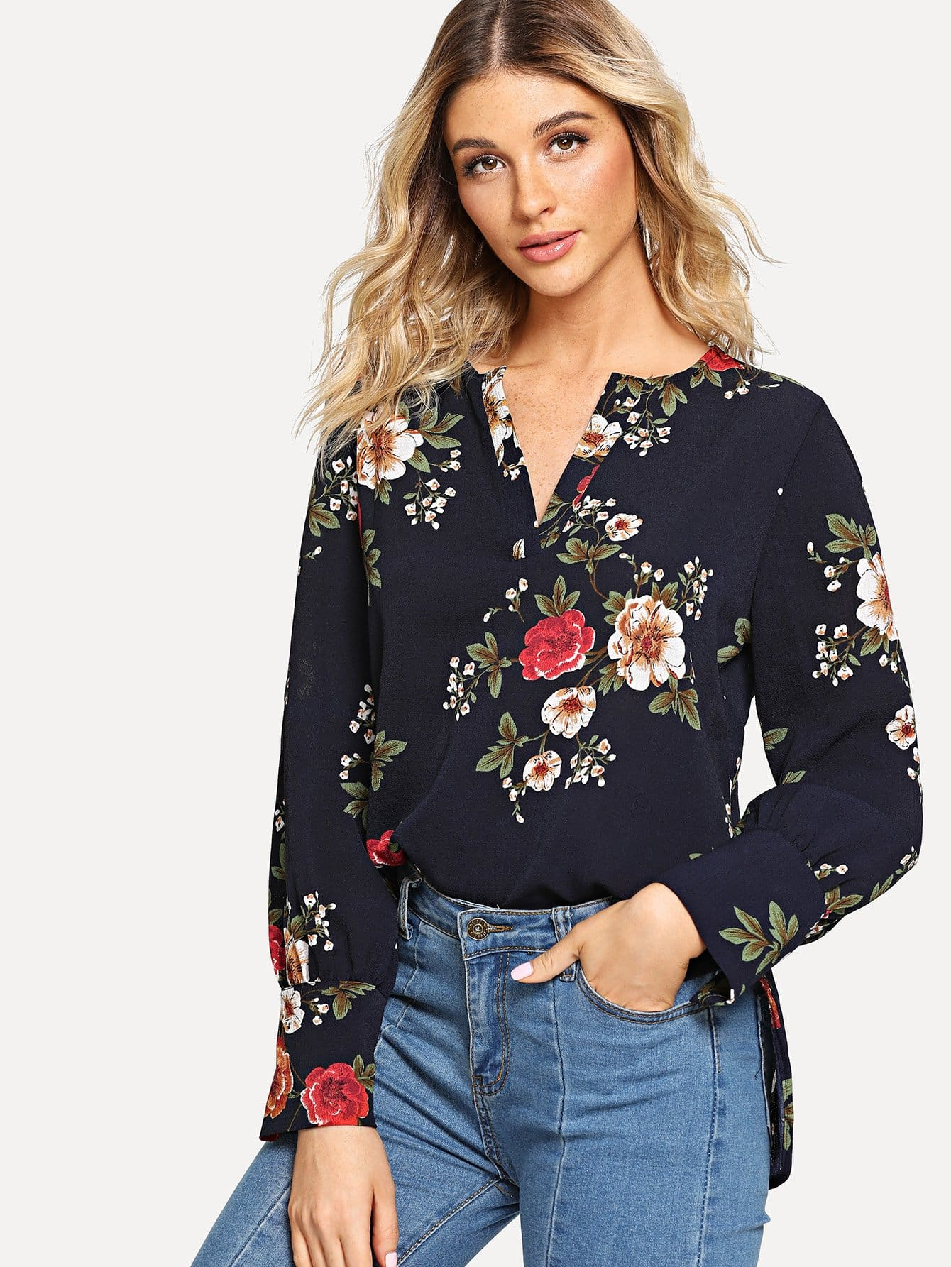 Купить Цветочная рубашка с высоким низким весом, Nathane, SheIn